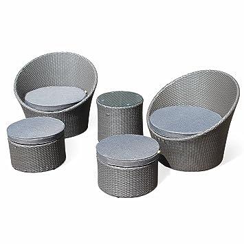 Salon de Jardin encastrable et empilable en résine tressée - Capasanta -  Gris, Coussin Gris - 4 Places - Une Petite Table Ronde et 4 assises