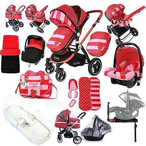i-Safe sistema - lazo lunares Trio sistema de viaje Cochecito de bebé y silla de paseo 3 en 1 completo con asiento de coche de lujo, base, bolsa, ...