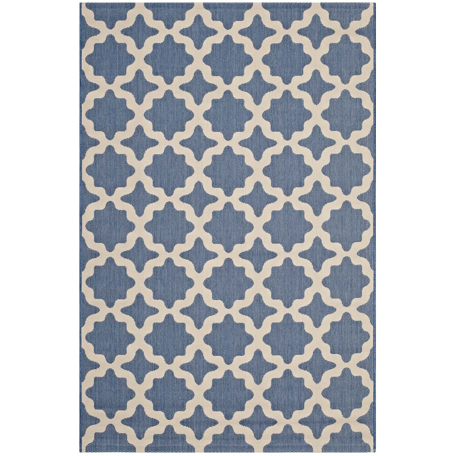 Modway R-1139C-810 Cerelia Distressed Vintage Floral Lattice 5x8 Area Rug, 8X10, Blue and Beige