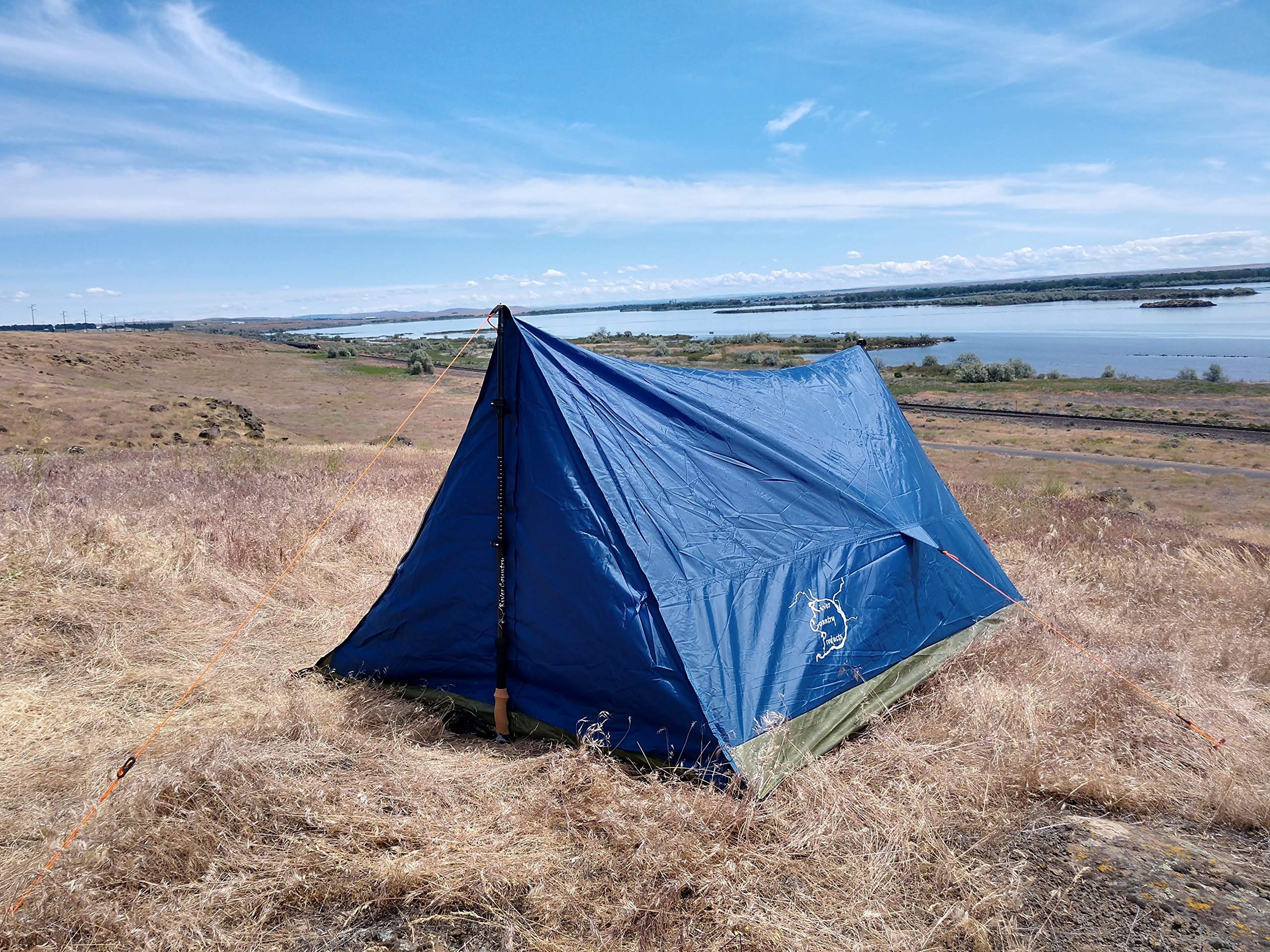 River Country Products Trekker Tent 2, Trekking Pole Tent, Ultralight Backpacking Tent - Blue by River Country Products