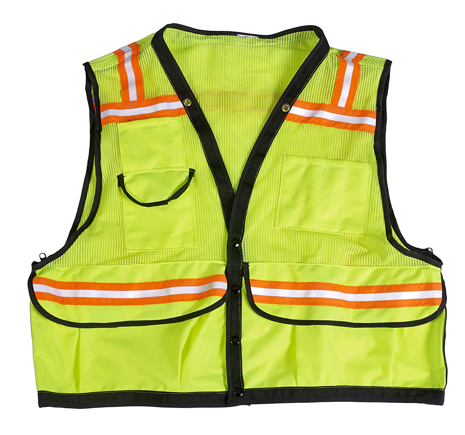 Lime Mutual Industries 16333-38-7 High Visibility Mesh Super Deluxe Surveyor Vest with 2 Vertical and 2 Horizontal 1-1//2 Orange//Silver//Orange Reflective Stripes 4X-Large