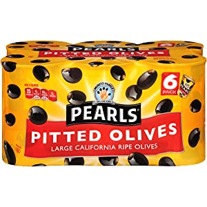 Pearls 6 oz. Ripe Pitted Large Black Olives, 6-Cans