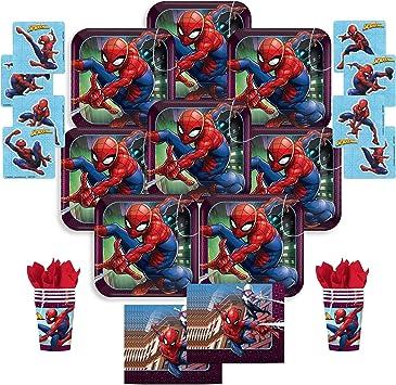 B-There Spider-Man - Juego de mesa para fiesta de cumpleaños infantil con diseño de Spiderman, asientos 8: platos, tazas, servilletas y pegatinas. Suministros para fiestas infantiles: Amazon.es: Salud y cuidado personal