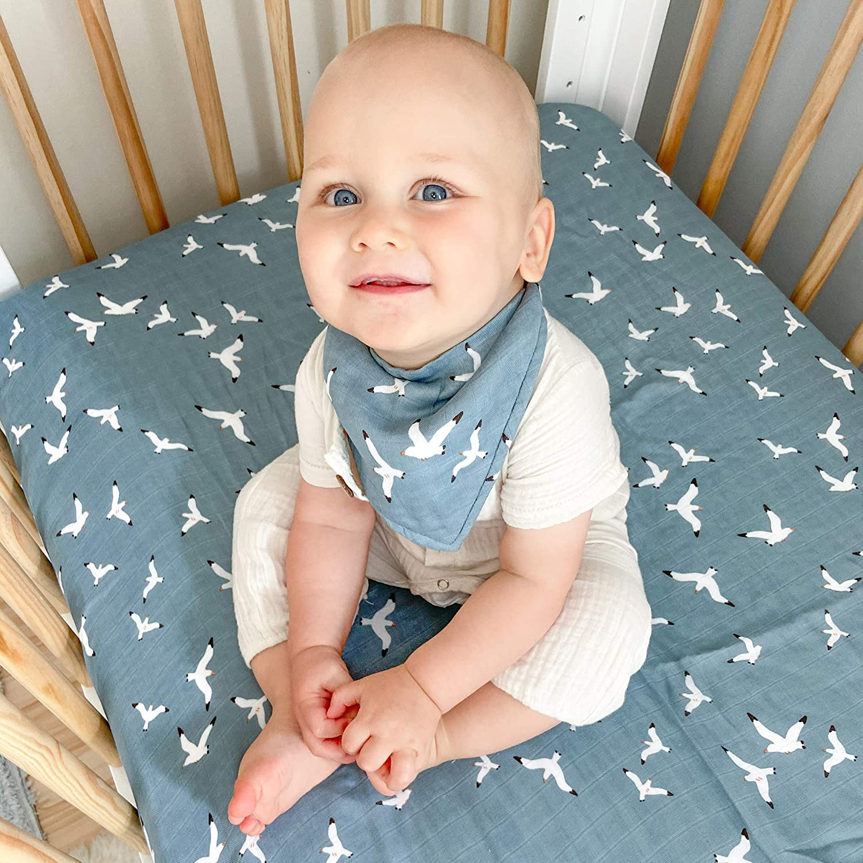 Bebe au Lait Seagulls Oh-So-Soft Muslin Bandana Bib Blue One Size