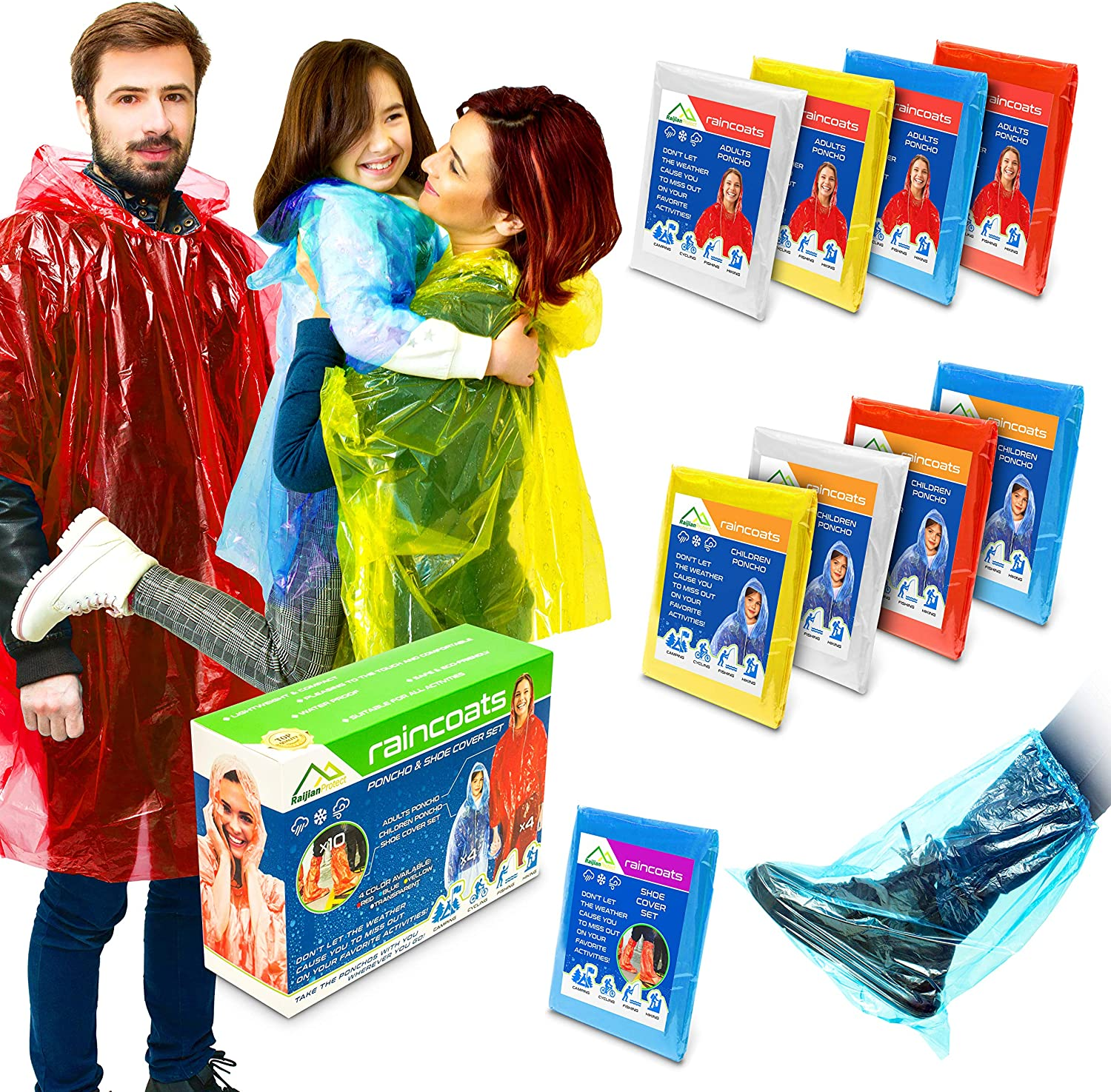 Rain Ponchos for Adults and Kids I Ponchos Family Pack I Rain Coats for Men and Women with Shoe Covers: Sports & Outdoors