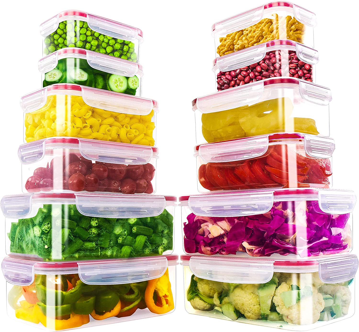Utopia Kitchen 24 Piece Plastic Food Containers Set [ 12 Containers & 12 Lids ] with Airtight Lids-Freezer & Microwave Safe, BPA Free, Leak proof Lunch Containers