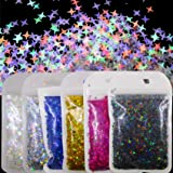 LoveOurHome 6 Colors Holographic Star Shaped Chunky Glitter Flakes Sparkles Iridescent Sequins Epoxy Resin Accessories Crafts