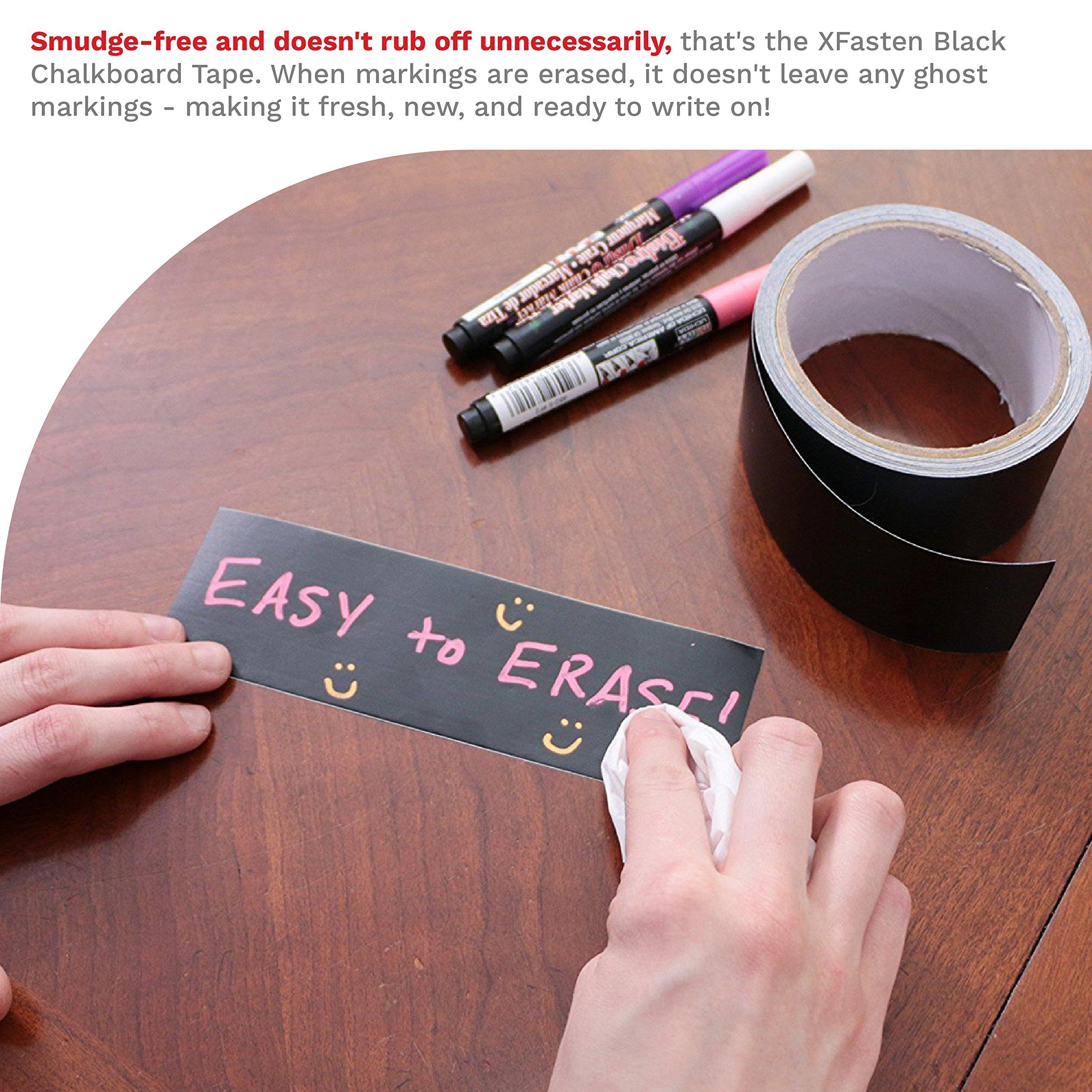 XFasten Black Chalkboard Tape Removable, 2-Inch x 30-Foot, Black, Smudge Resistant Sticky Chalkboard Label Duct Tape