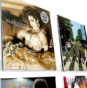 Simply Heaven 6 Pack Vinyl Record LP Display Shelf Wall Mount, Floating Picture Frame Nursery Kids Book Ledge, Nail Polish Cosmetics lipstick, Includes Bonus Level, Clear Acrylic Album Record Holder