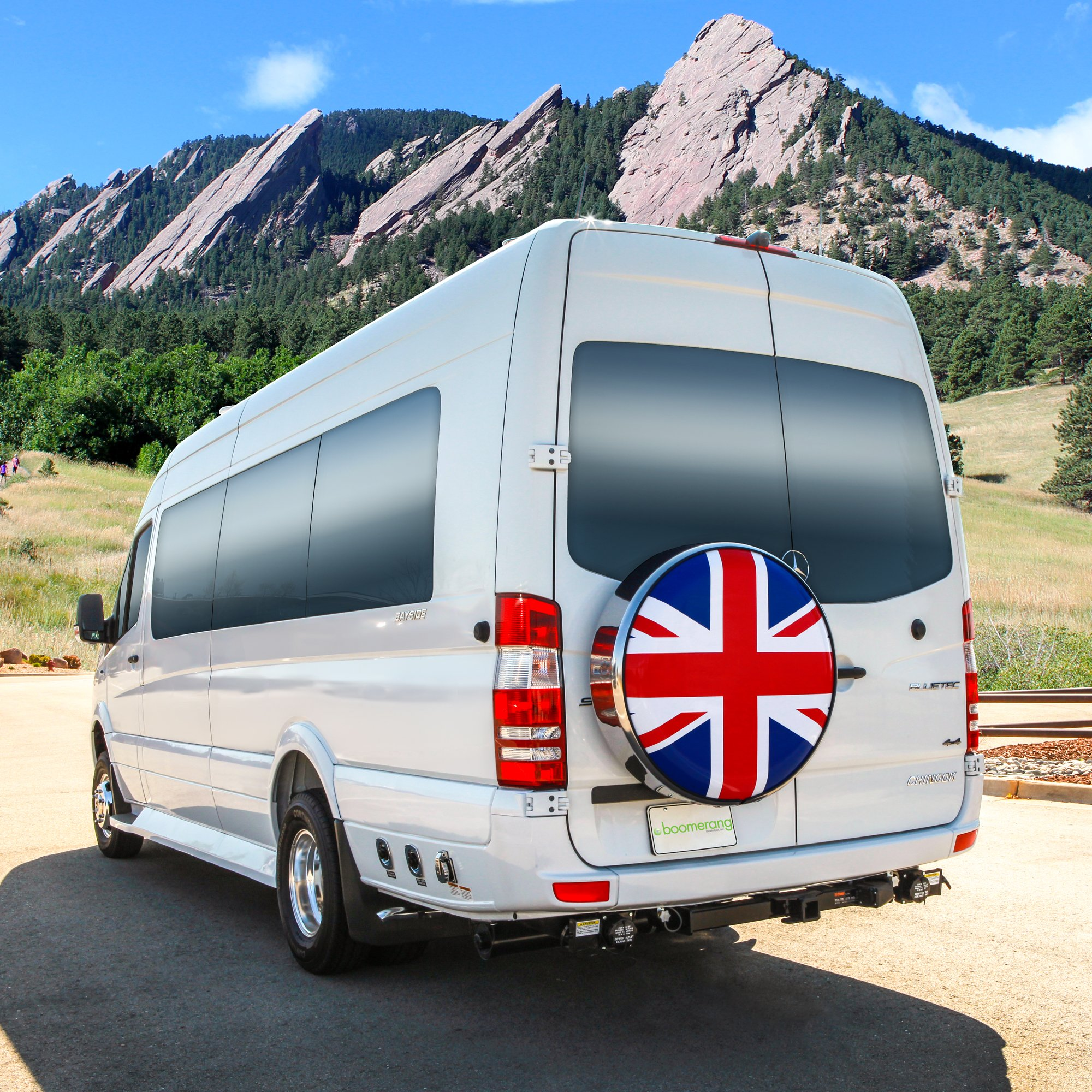 MasterSeries - Continental Tire Cover Kit (245/75R16 ) - (Molded Plastic Face & Polished Stainless Ring) - Union Jack Flag Print by Boomerang (Image #3)