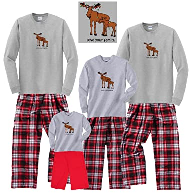 66be97090651 Amazon.com  Family Matching Moose in Christmas Lights Holiday Outfit ...