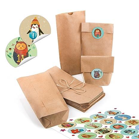 c6eda2a1b 24 pequeñas bolsas de papel natural marrón papel kraft 10,7 x 22 x 4,2 ...