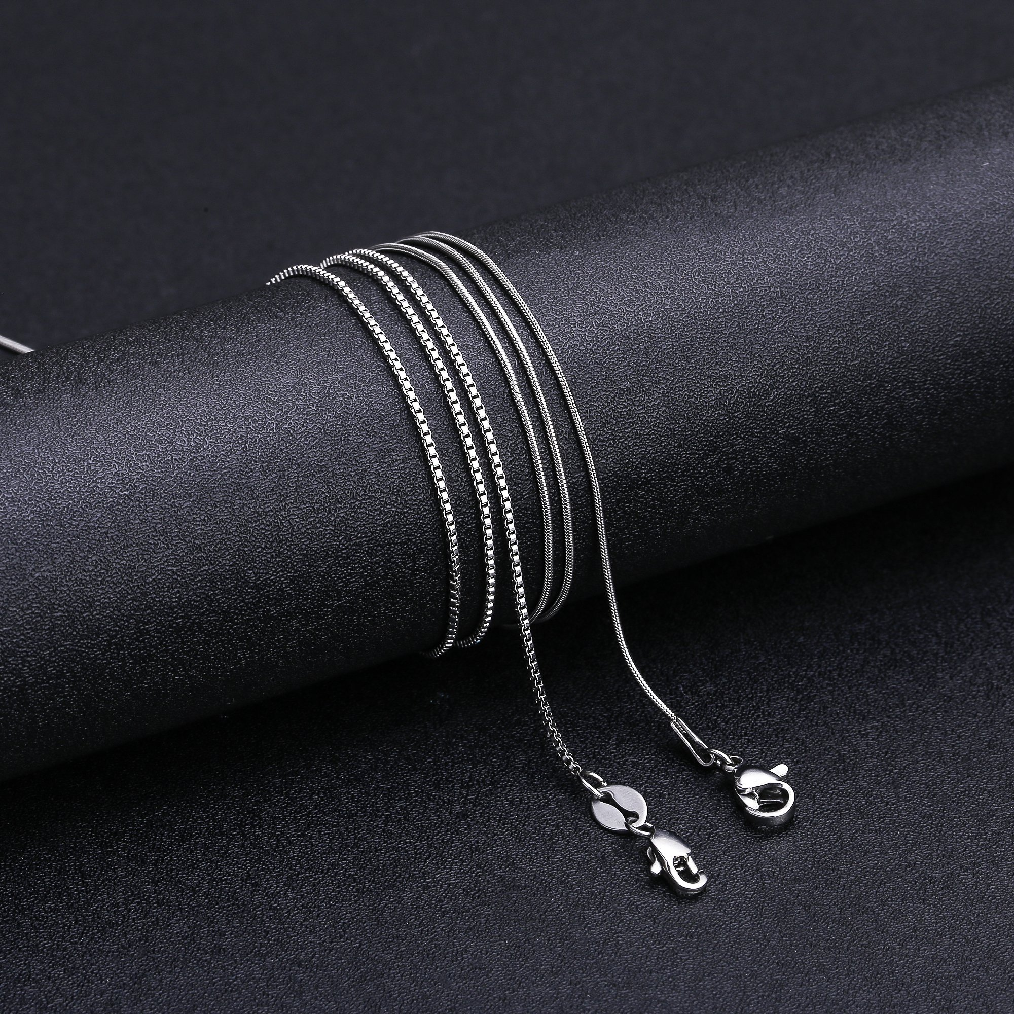 LOLIAS 2 Pcs Stainless Steel 1mm Round Snake Chain Box Chain Necklace Super Thin & Strong,30 Inch by LOLIAS (Image #6)