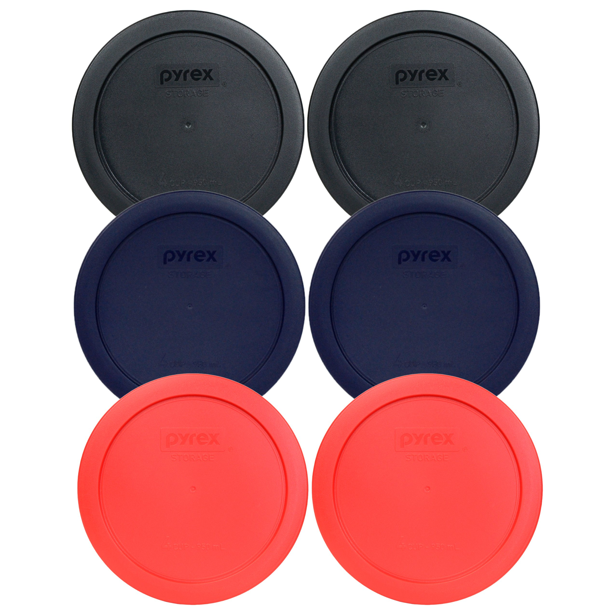 Pyrex 7201-PC 6'' 4 Cup Lids for Glass Bowl (2-Black, 2-Blue and 2-Red)