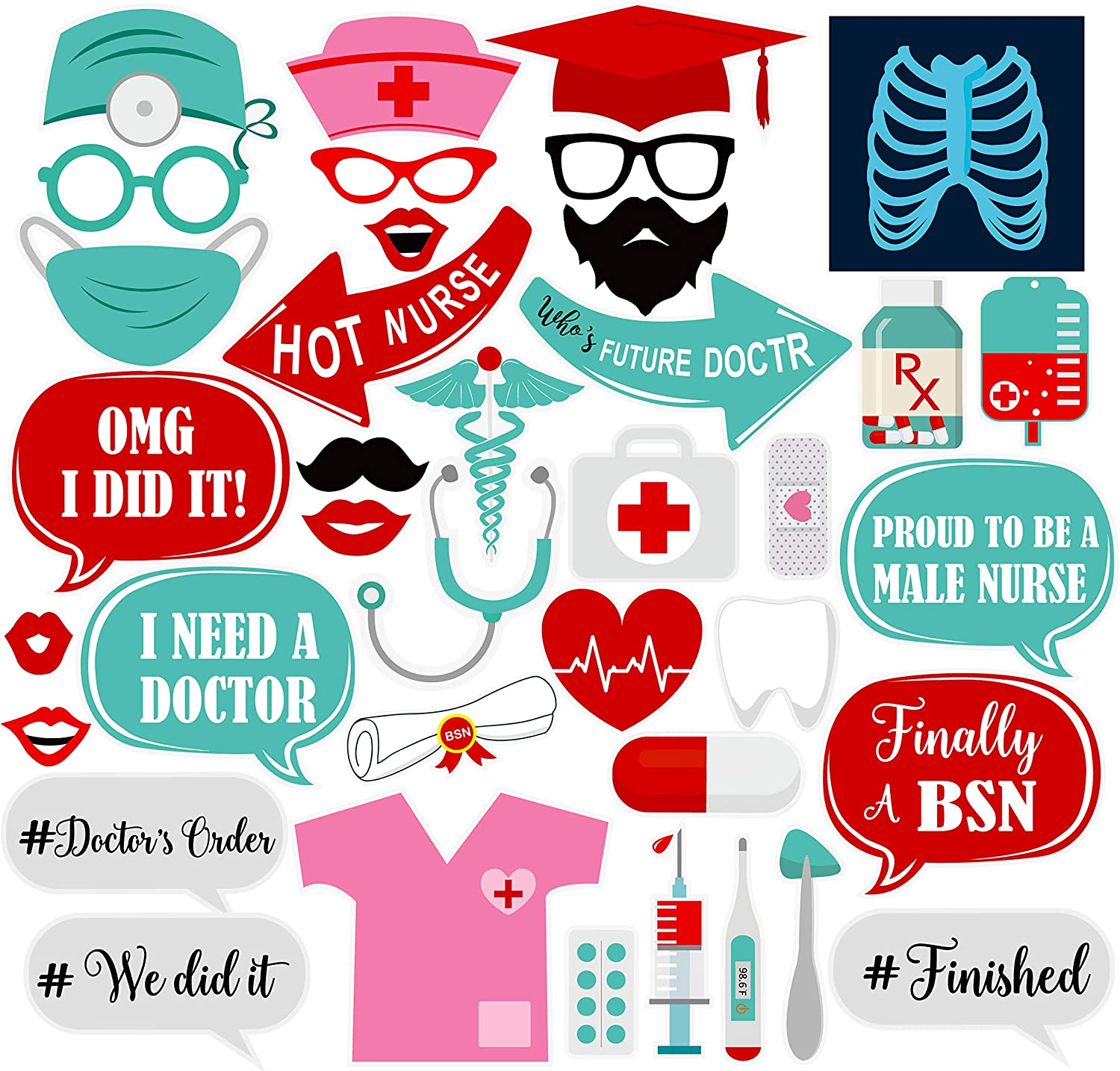 Doctor Nurse Graduation Party Supplies Theme Pack of 33 Great Graduation Decorations for 2019 Graduation Party Supplies Nurse Graduation Photo Booth Props DIY Required