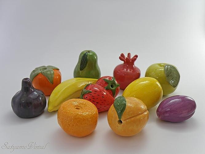 Amazoncom Decorative Fruit Set Small Ceramic Fruits Kitchen