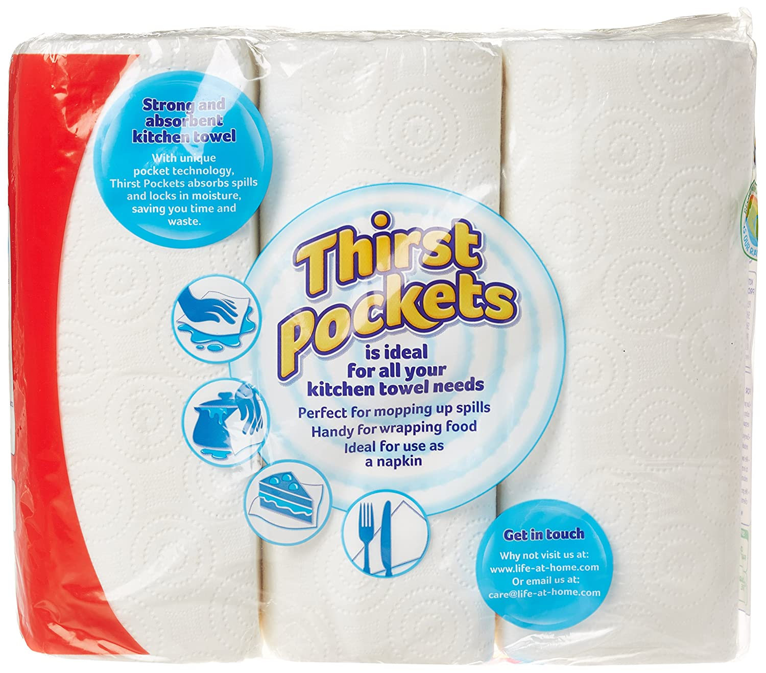 Thirst Pockets Kitchen Towel 3 for 2 Rolls (Pack of 8): Amazon.co.uk ...