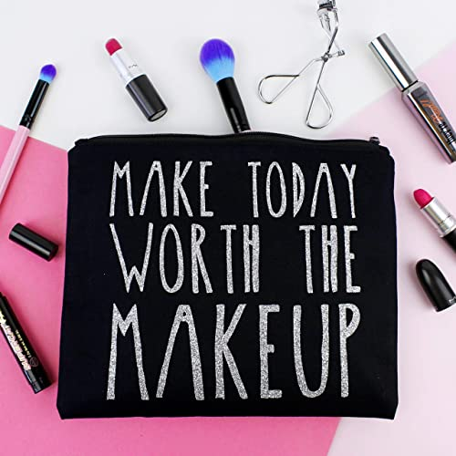 25a5db4dd7 Slogan Makeup Bag - Make Today Worth The Makeup - Colour Options   Amazon.co.uk  Handmade