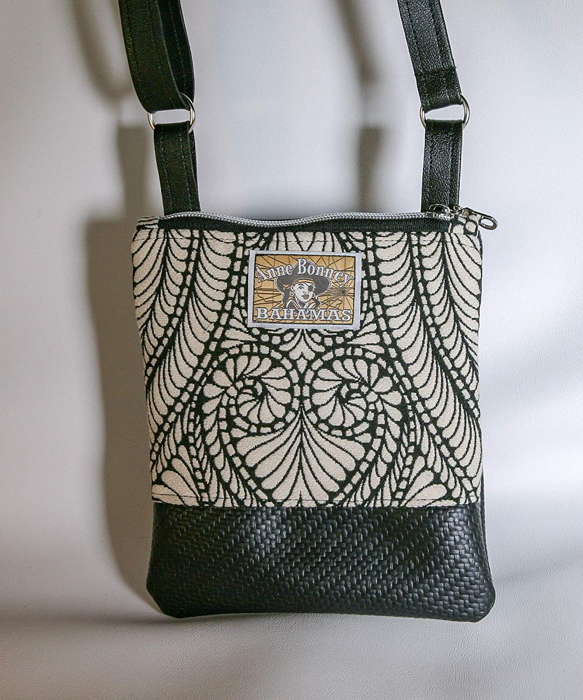 Amazon.com  Black and white cross body bag with vegan leather bottom ... 6f293c692b248