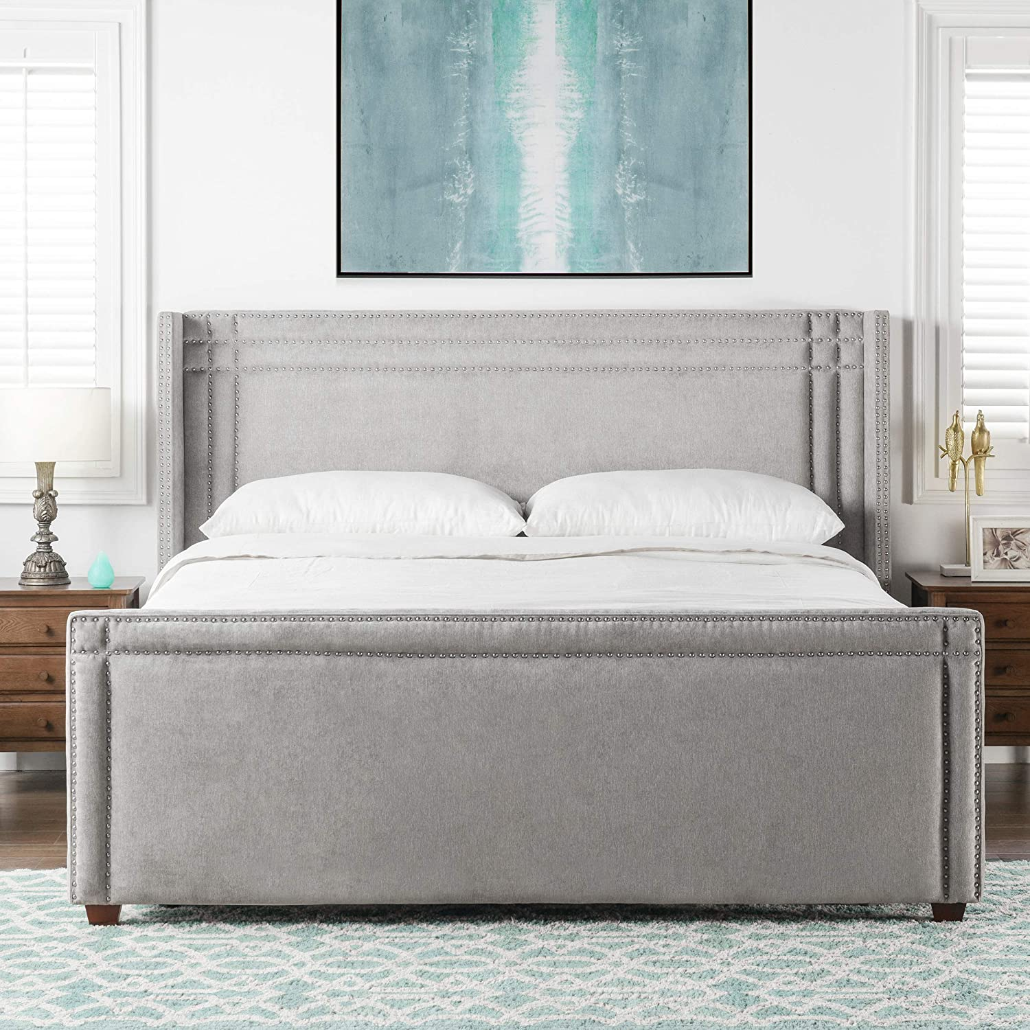 Jennifer Taylor Home Elle Collection Modern Upholstered King Size Size Bed Frame, Nailhead Trim, Silver Gray