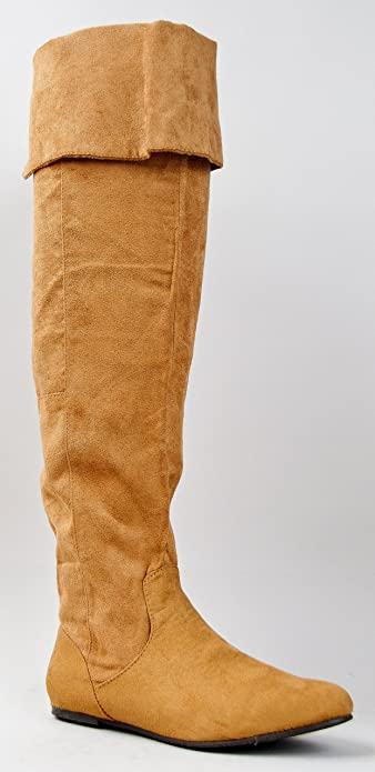 0f958b47ae3d6 Qupid PROUD-09 Cuff Over the Knee Thigh High or Knee High Slouchy Flat  Boot,6 B(M) US,Camel Suede PU