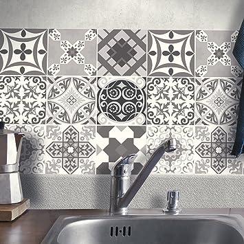 Fliesenaufkleber Bad Deko U Küche PortugiesischSchwarzWeiss - Fliesen 15 x 20 grau