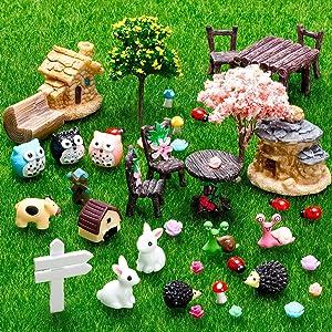 Skylety 64 Pieces Miniature Fairy Garden Accessories Mini Animals Miniature Ornament Kit Animal Figurines Animals Miniature Micro Landscape Accessories for Dollhouse Decoration Plant House Decor