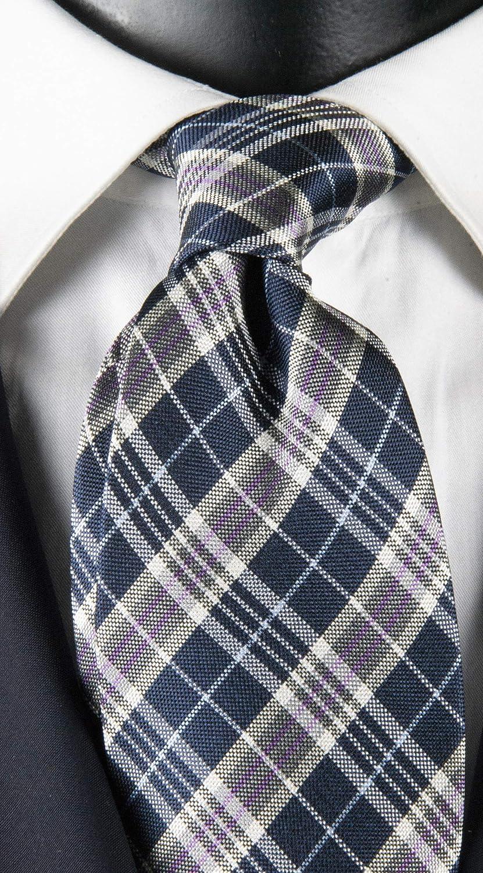 Graffeo - Corbata de hombre a cuadros azul, blanco, gris y morado ...