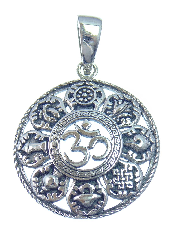 OM, Silber Anhänger, Der heilige Laut der beginn der Schöpfung mit den 8 Glückssymbolen des Buddhismus, aus 925 Sterling Silber,Versand innerhalb 24 Stunden !!! Silber Anhänger Solitär JeSiPenFi049