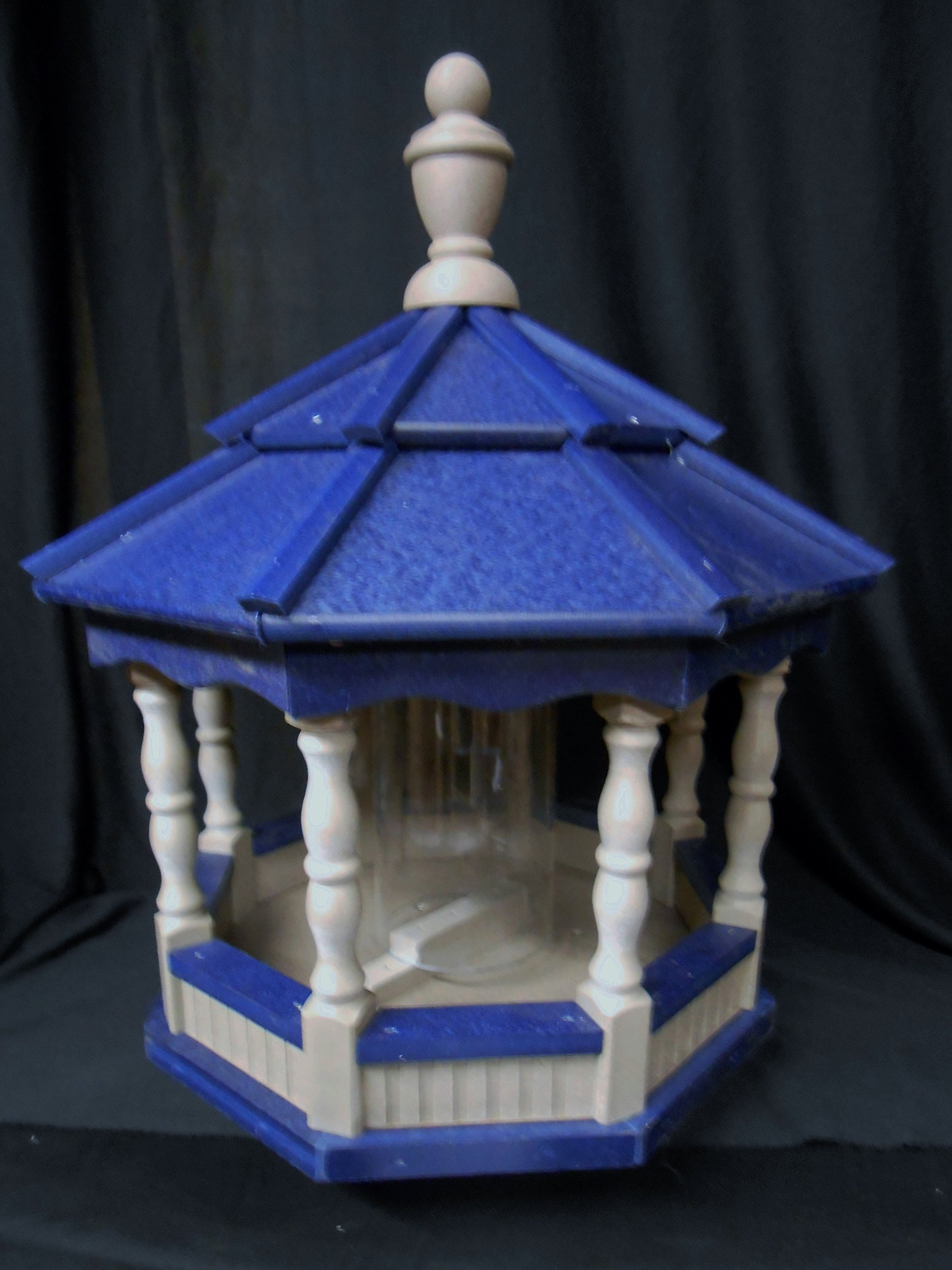 Poly Bird Feeder Amish Gazebo Handcrafted Homemade Clay & Blue Roof Md