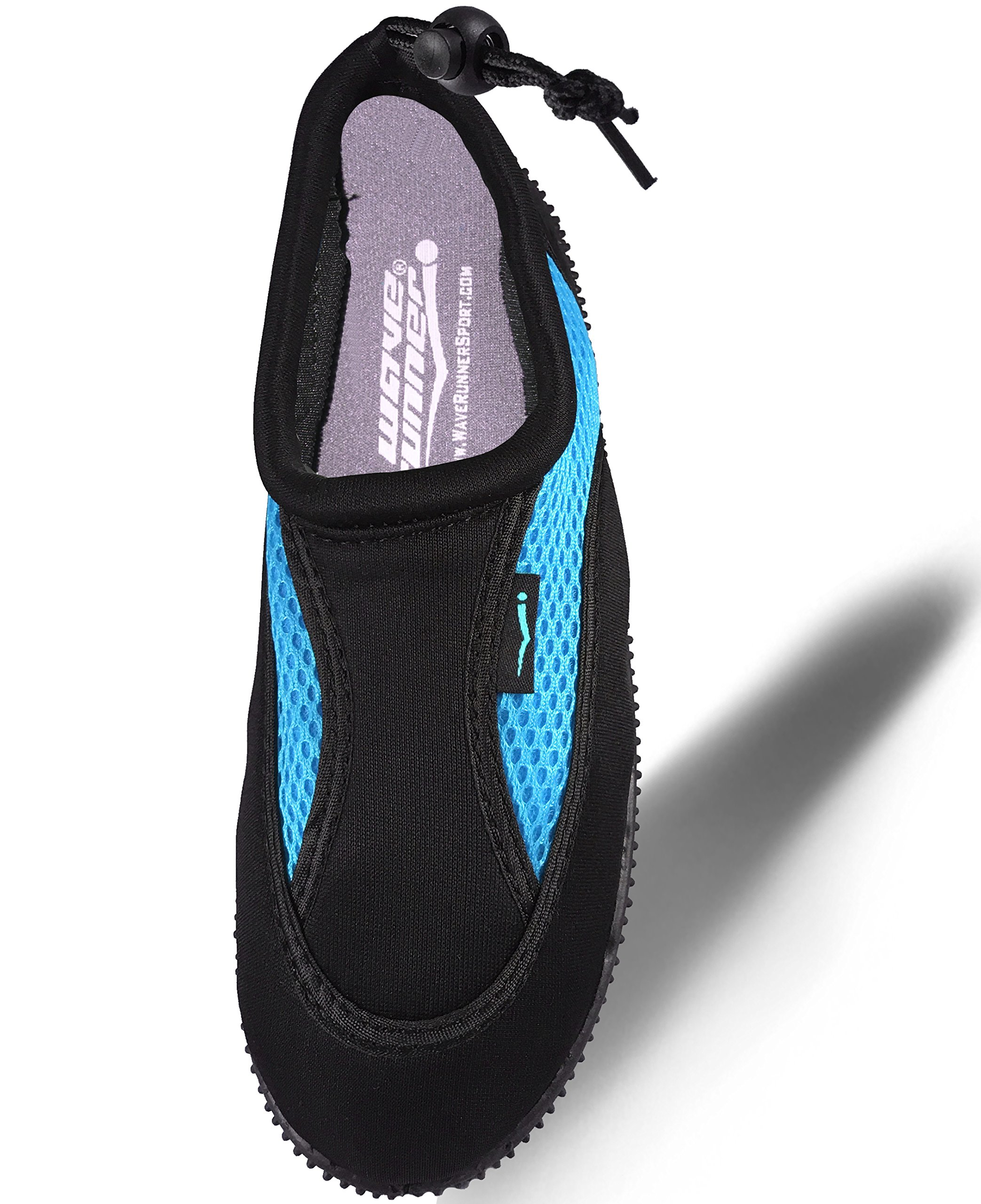 Quick Dry Water Shoes Aqua Socks Barefoot Slip-On with Adjustable Back Strap for Men Women & Children (7 US Woman, Black and Turquoise)