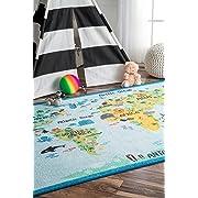 nuLOOM Nursery Animal World Kids Area Rugs, 3' 3  x 5', Baby Blue