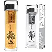 amapodo Teeflasche mit Sieb und Deckel Farbe in silber, Teebereiter Tee-Glas to go 400ml BPA-frei