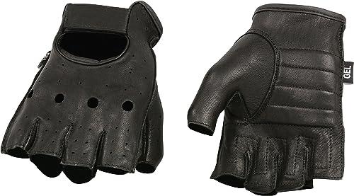 Shaf International SH851-BLK-XL Deer Skin Fingerless Gloves with Gel Padded Palm