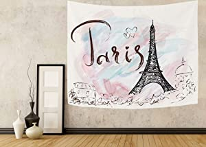 """Wamika Eiffel Tower Tapestry Home Decor France Paris Tapestries Wall Hanging City Landscape Hippie Bohemian Psychedelic Tapestry for Dorm Bedroom Living Room 51"""" X 60"""" Blanket Wall Art Pink"""
