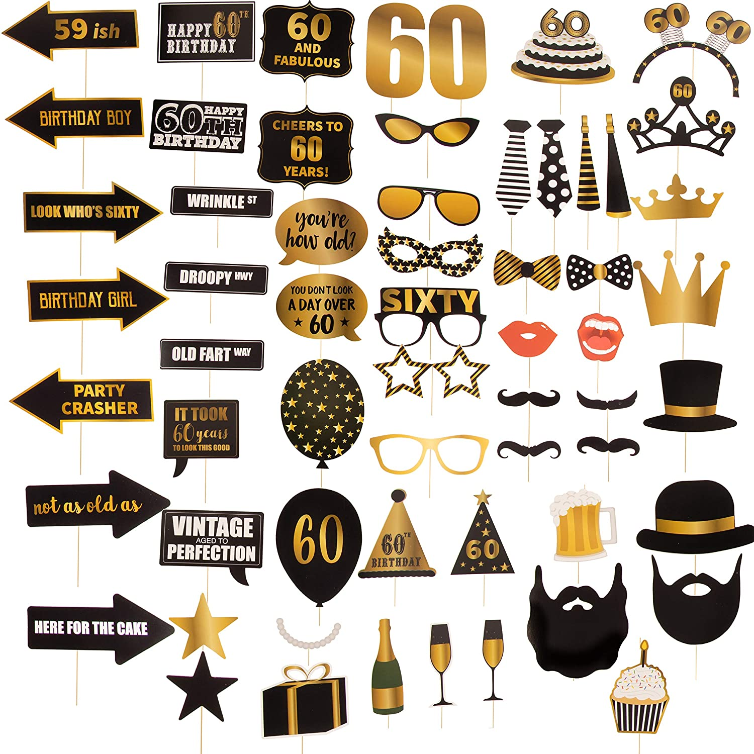 60th Birthday Party Photo Booth Props - 60-Piece Selfie Props for Her Him, Big 60 Birthday Decorations for Men and Women, Gold and Black Juvale