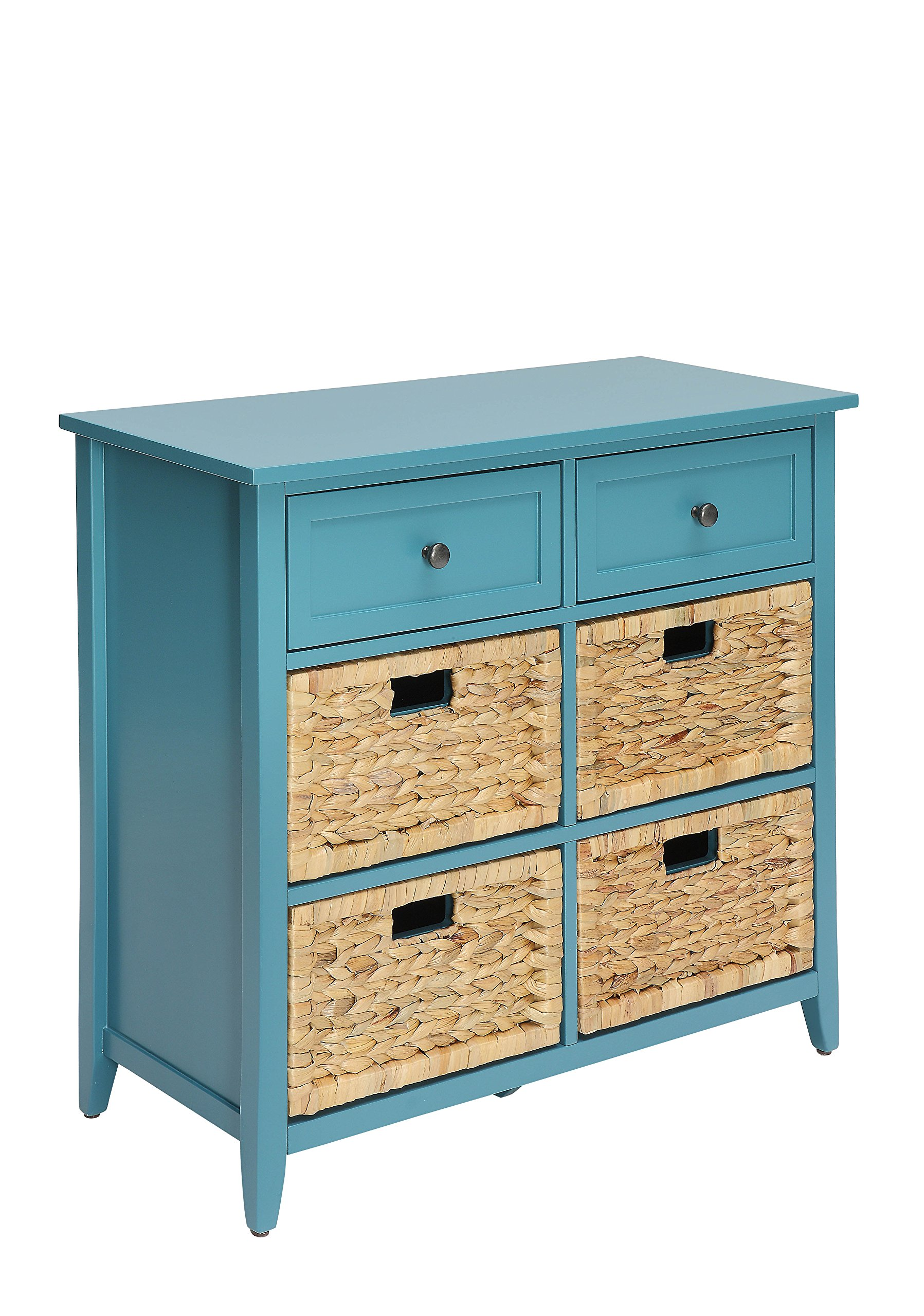 ACME Flavius Console Table - - Teal - Rectangular Chest The product contains 6 drawers Wooden frame - dressers-bedroom-furniture, bedroom-furniture, bedroom - 91xw woF0gL -