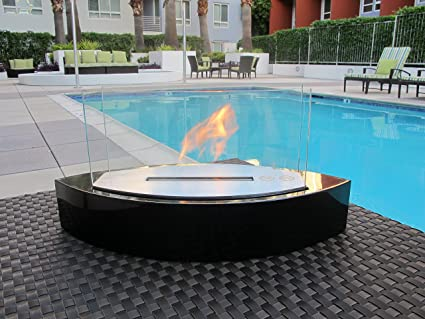 Chic Fireplaces  Luxury Concord Black TableTop Ventless Bio Ethanol  Fireplace Indoor/Outdoor, Portable