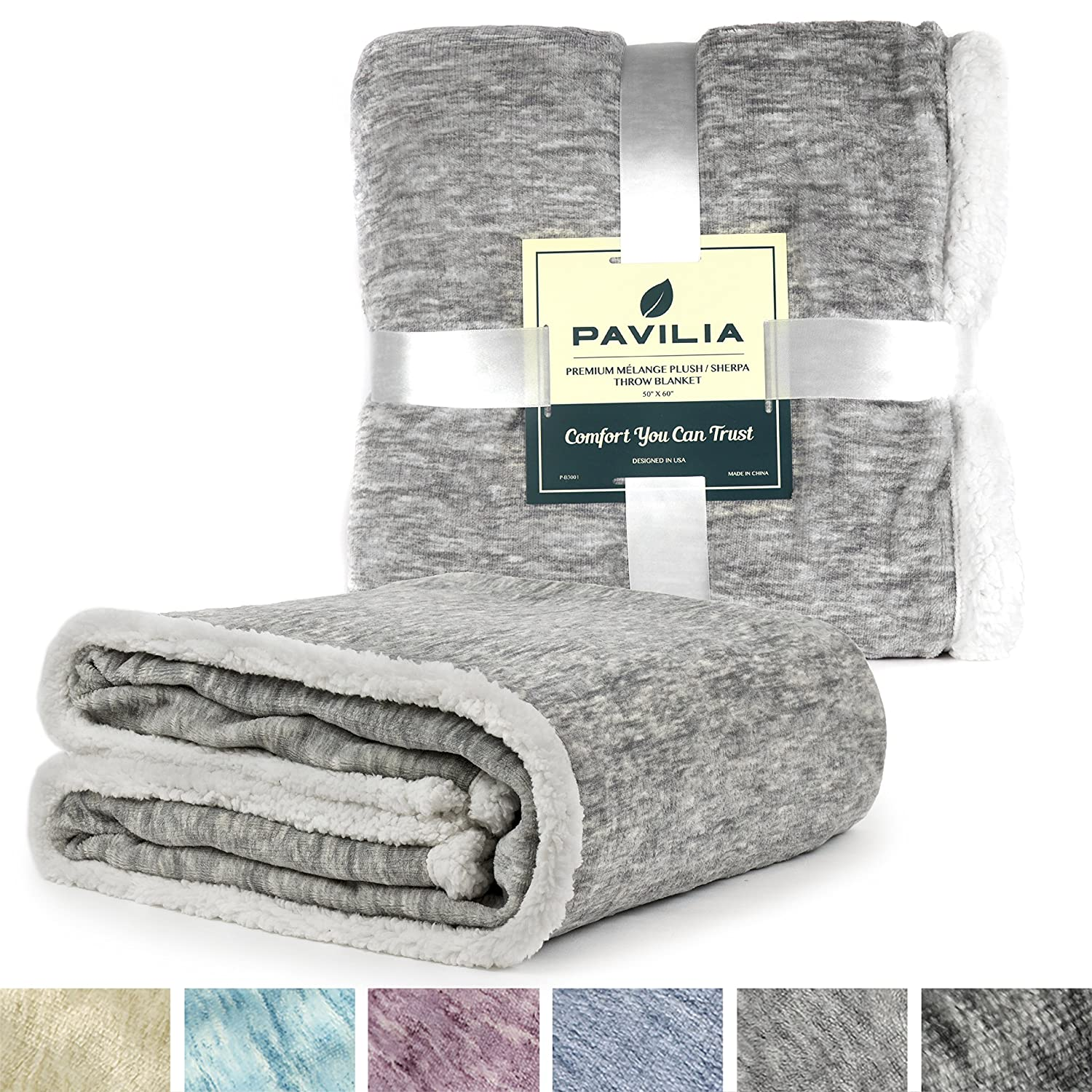 Premium Melange Sherpa Throw Blanket by Pavilia Light Gray