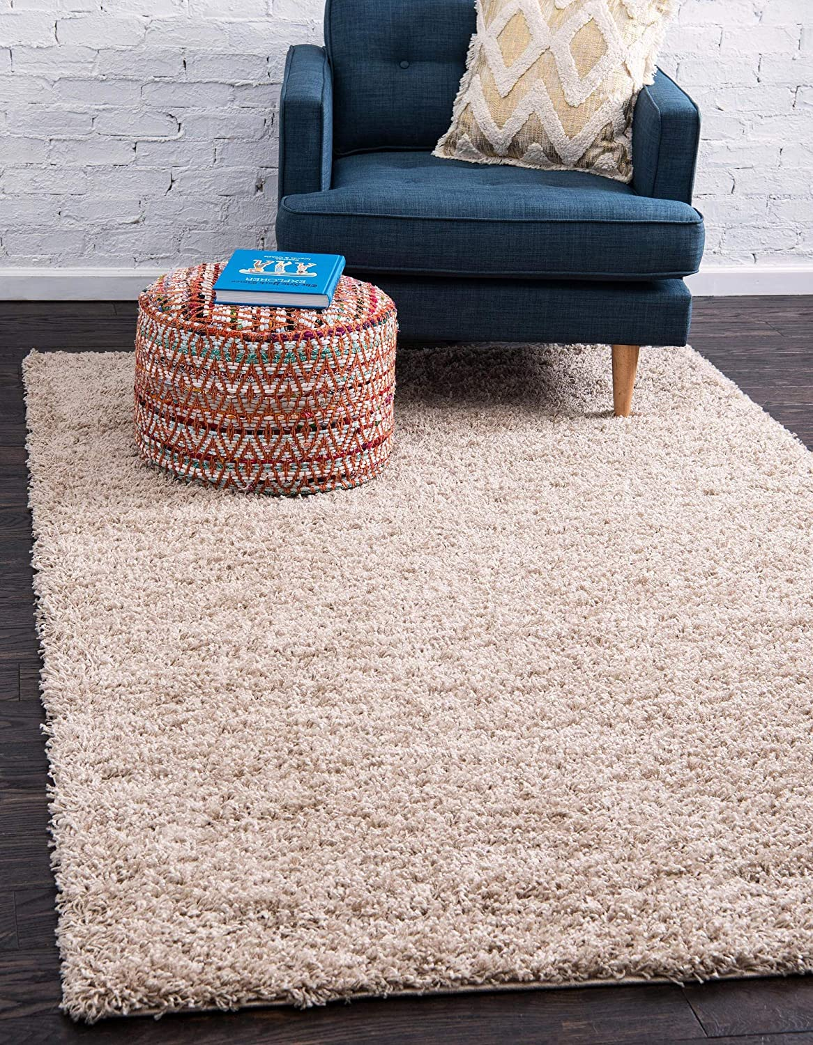Unique Loom Solo Solid Shag Collection Modern Plush Taupe Area Rug (7' 0 x 10' 0)