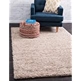 Unique Loom Solo Solid Shag Collection Modern Plush Taupe Area Rug (4' 0 x 6' 0)