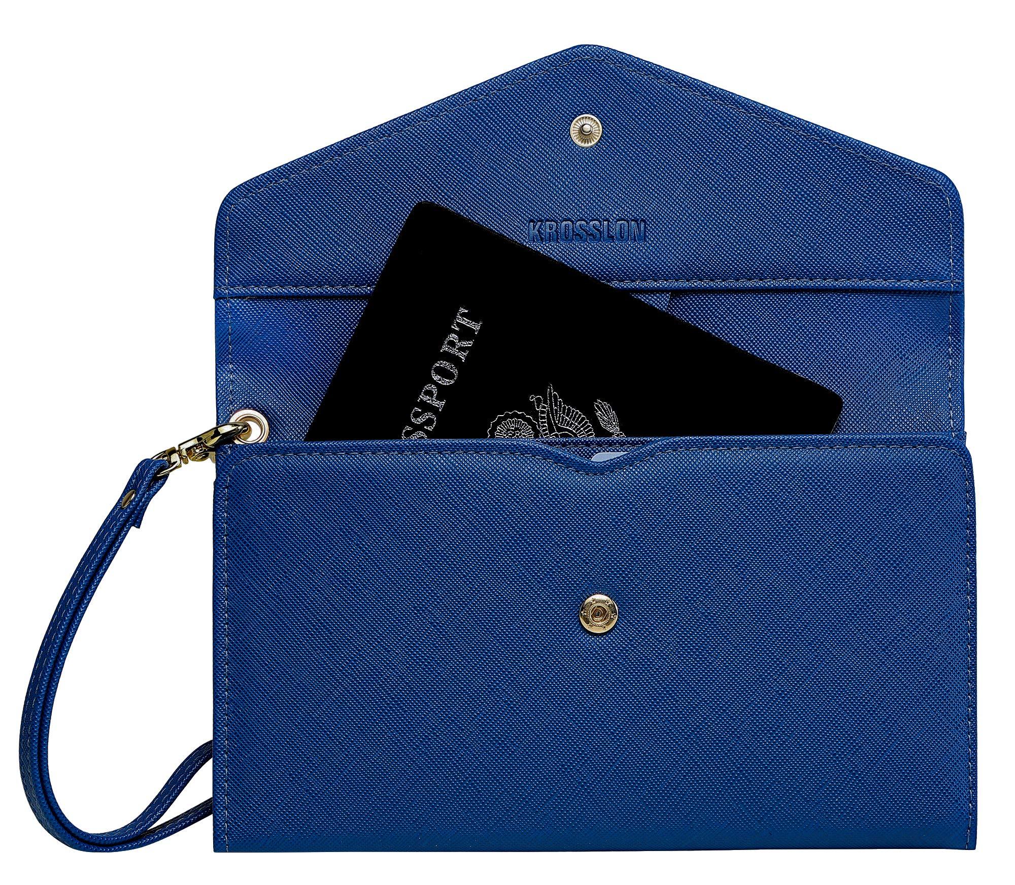 Krosslon Travel Passport Wallet for Women Rfid Wristlet Slim Family Document Holder, 2# Navy Blue