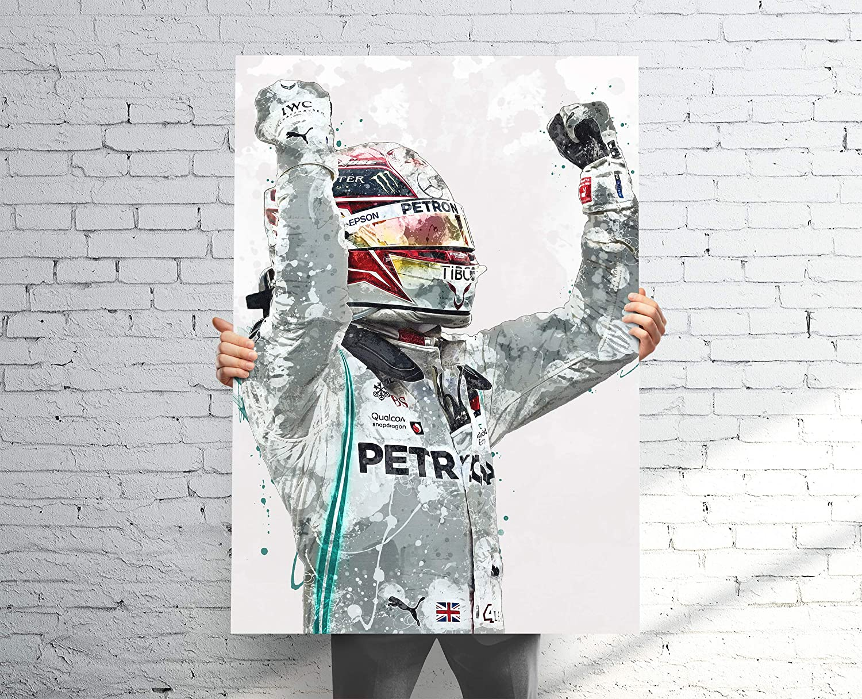 Amazon Com Topshelfprints Lewis Hamilton V2 Mercedes Poster Canvas Print F1 Racing Artwork Kids Wall Decor Man Cave Sports Decor Clothing