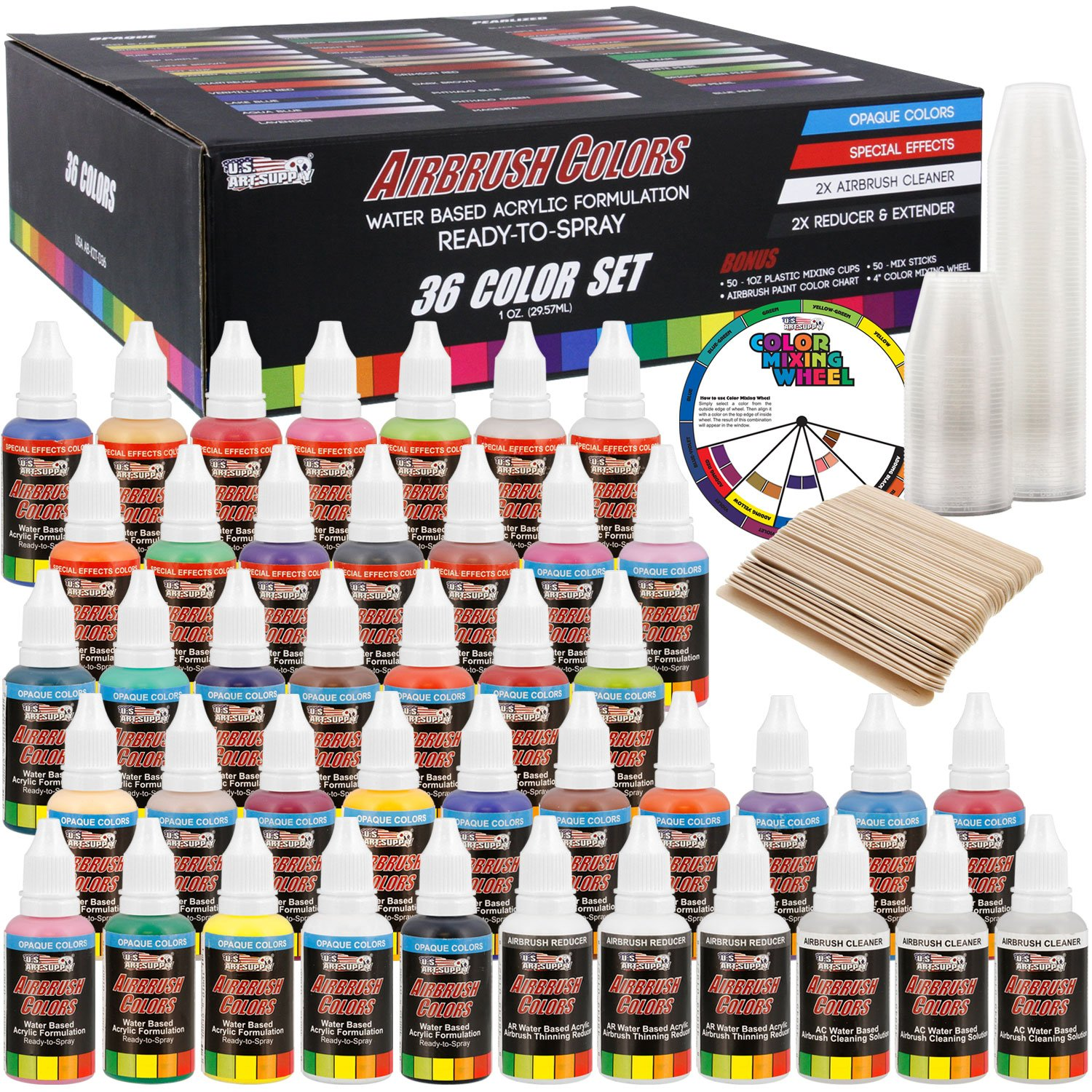U.S. Art Supply 36 Color Deluxe Acrylic Airbrush, Leather & Shoe Paint Set with Cleaner, Thinner, 50-Plastic Mixing Cups, 50-Wooden Mix Sticks and Color Mixing Wheel by US Art Supply (Image #1)