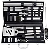 ROMANTICIST 28pc BBQ Accessories Set with Thermometer - The Very Best Grill Gift on Birthday Wedding - Heavy Duty Stainless S
