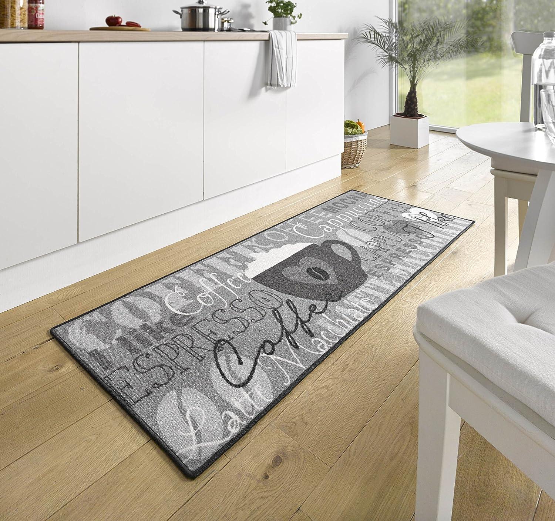 Hanse Home 102370 Alfombra para Cocina 67 x 180 cm Color Gris dise/ño de Taza de caf/é