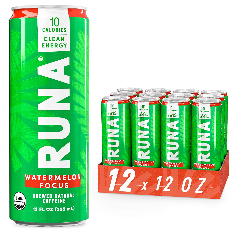 Organic Clean Energy Drink by RUNA, Watermelon Focus | Refreshing Tea Taste | 10 Calories | Powerful Natural Caffeine | Healthy Energy & Focus | No Crash or Jitters | 12 Oz (Pack of 12)