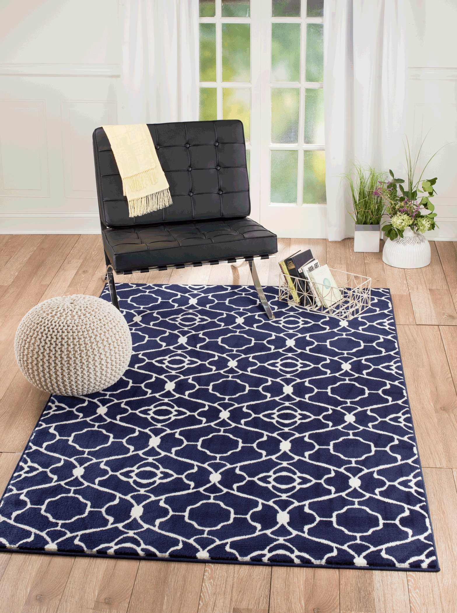"NEW Summit Elite S 67 Navy Blue White Trellis Garden modern abstract Area Rug (2x3 doormat Actual is 22""x35"") - Easy to clean rugs Blended yarn pile rug Machine made rugs - living-room-soft-furnishings, living-room, area-rugs - 91xwDEaK82L -"