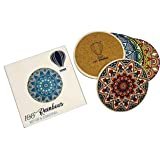 100 RAINBOWS Premium Absorbent Ceramic Coasters (Mandala Design) - Set of 6 with Anti Scratch Cork Backing