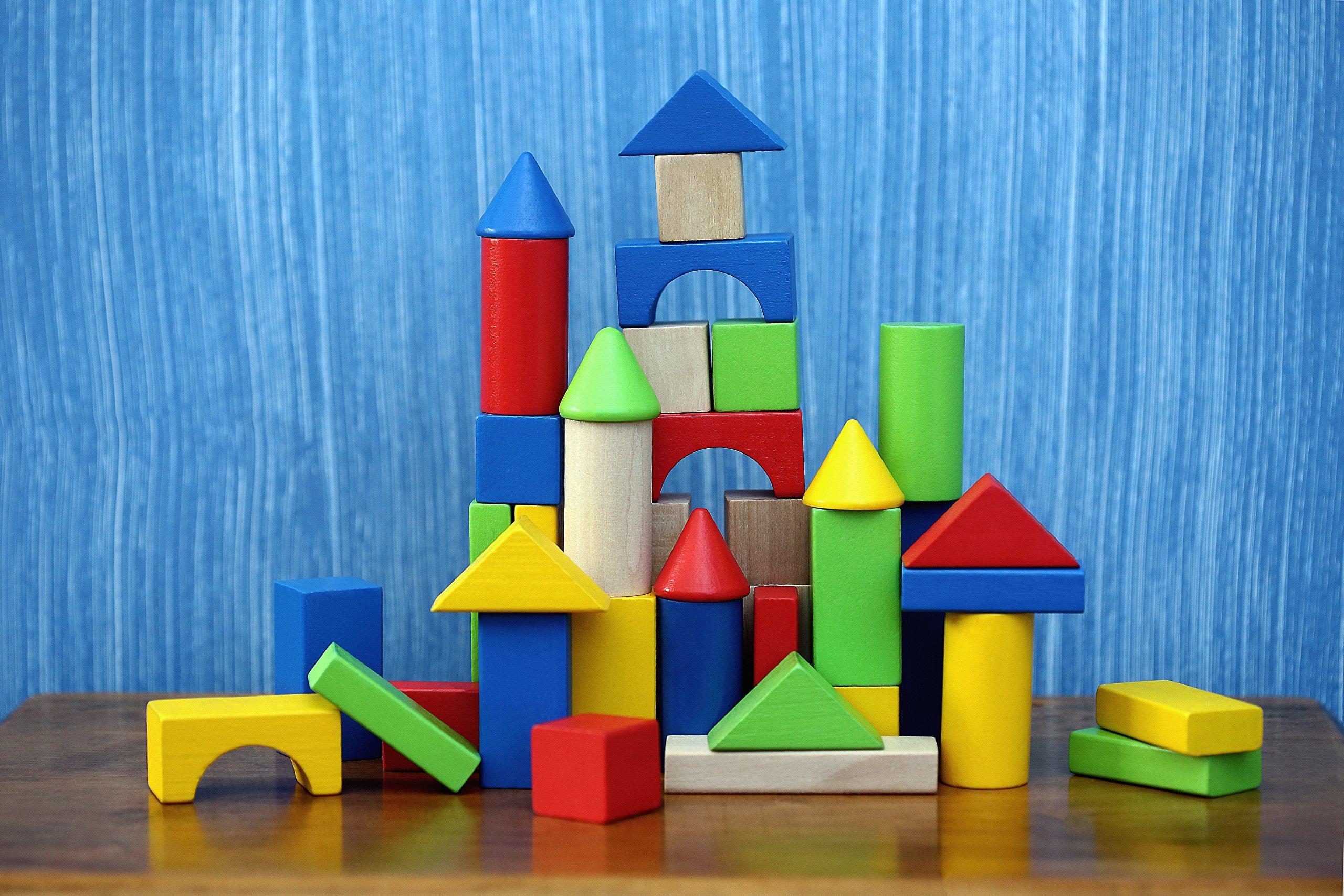 Delicieux Cubbie Lee 50 Pc Classic Wooden Building Blocks Set W/ Storage Bucket U2013 For  3